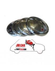 4 coppe ruota con logo Fiat in acciaio INOX Fiat 500 Giardiniera