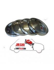 4 coppe ruota liscie in acciaio INOX Fiat 500 Giardiniera - Bianchina