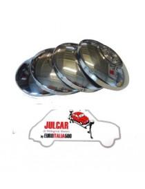 4 coppe ruota Borrani in acciaio INOX Fiat 500