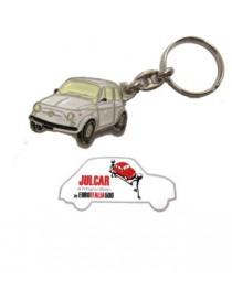Portachiavi metallo bianco Fiat 500