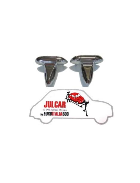 Coppia cerniere cromate per modifica apertura cofano motore Fiat 500