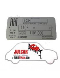 Targhetta identificativa in alluminio Fiat 500 F