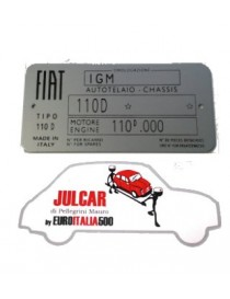 Targhetta identificativa in alluminio Fiat 500 D