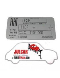 Targhetta identificativa in alluminio Fiat 500 L