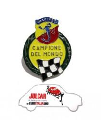 """Fregio stemma laterale Abarth """"Campione del Mondo"""" per parafango posteriore Fiat 500"""