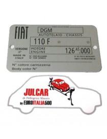 Targhetta identificativa in alluminio Fiat 500 R