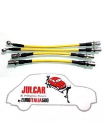 Kit tubi freno flessibili aeronautici Avio rivestiti gialli Fiat 500
