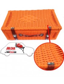 Valigia cestino in plastica intrecciata arancione Fiat 500