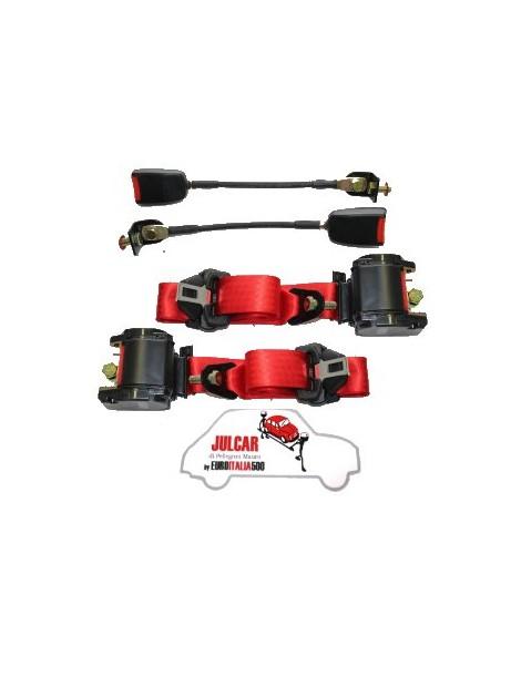 Cinture di sicurezza Omologate rosse con arrotolatore Fiat 500