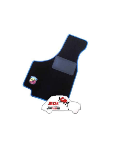 Kit sovratappeti Abarth bordo blu Fiat 500 ( 4 pezzi )