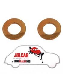 Coppia rondelle di rame coperchio punterie Fiat 500