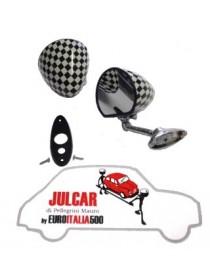 Specchio esterno a goccia a scacchi con guarnizione e fissaggio a vite Fiat 500