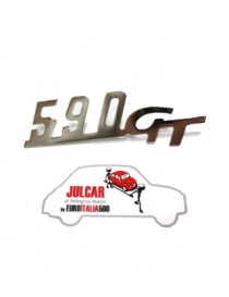 Scritta cromata Giannini 590 GT per cruscotto 6,8 x 2,2 cm Fiat 500