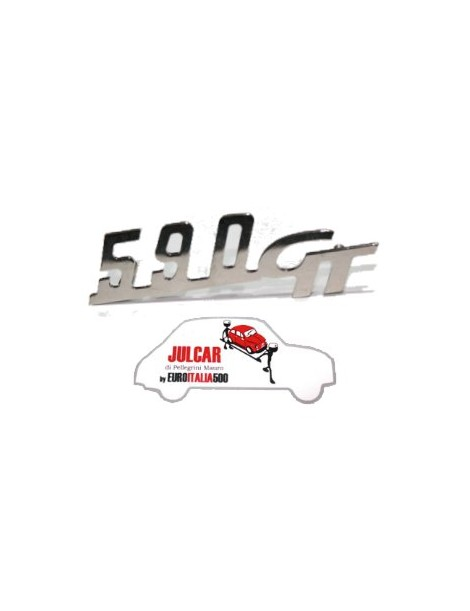Scritta cromata Giannini 590 GT per cofano motore 11 x 3 cm Fiat 500