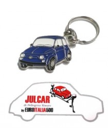Portachiavi metallo blu Fiat 500