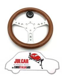 Volante sportivo con clacson in mogano diametro 320 mm Fiat 500/126