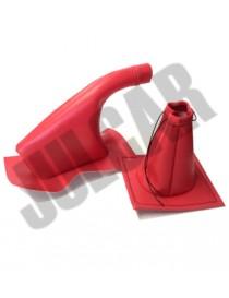 Coppia cuffie rosse leva marce e freno a mano Fiat 500