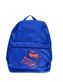 Zaino in poliestere blu royal con tasca frontale e logo 500